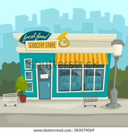 City background with shop building / Vector cartoon illustration / front view / exterior / Store facade at the street - stock vector