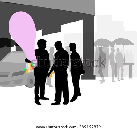 City Balloon Seller - Vector