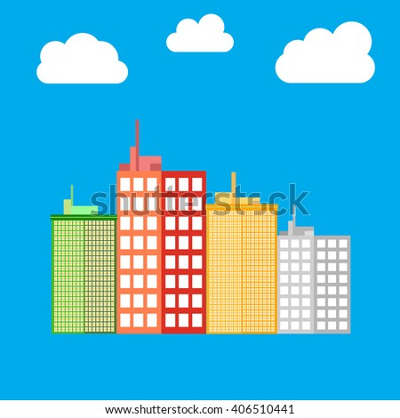 City, building icon. Skyscrapers. House icon. Vector illustration