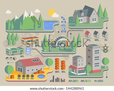 city building info graphic, - stock vector