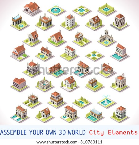 City Building Villas Private Real Estate. Building MEGA Collection Italian Venice Luxury Hotel Gardens. Isometric Building Tiles. 3d Urban Building Map Vector Elements Set Business Management Game  - stock vector