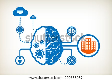 City buildings and abstract human brain, the concept of the information movement - stock vector