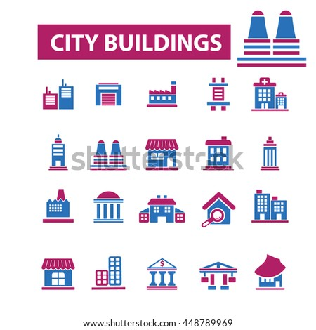 city buildings icons - stock vector