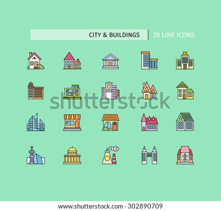 City buildings icons. Set of thin lines color icons on green background. For web site construction, mobile applications, banners, corporate brochures book covers layouts - stock vector