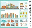 City buildings infographics includes a residential buildings public buildings transportation flora and urban objects vector illustration - stock vector