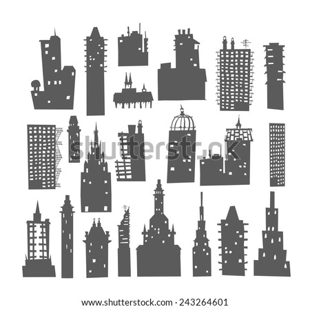 City buildings set - stock vector