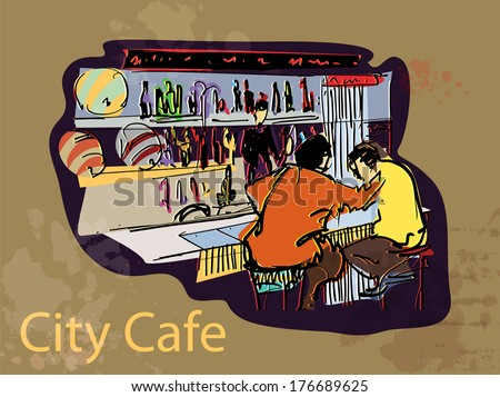 City cafe scenery - stock vector