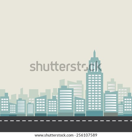city center and road illustration, vector