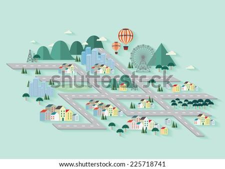 city/ cityscape/ city skyline vector/illustration - stock vector