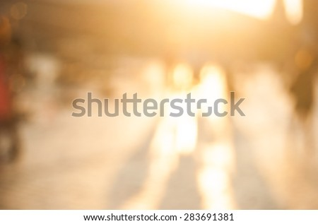 City commuters. High key blurred image of workers going back home after work. Unrecognizable faces, bleached effect. - stock vector