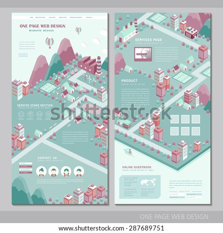 city concept one page website design template in flat style - stock vector