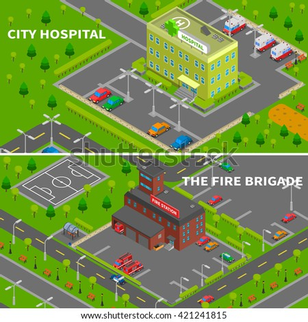 City constructor banners collection of hospital and fire station isometric top view concepts vector illustration