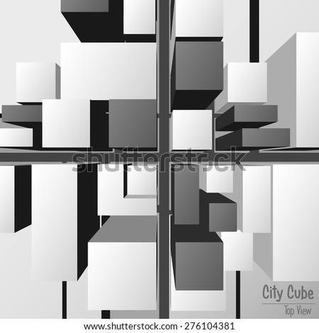 City cube top View - stock vector