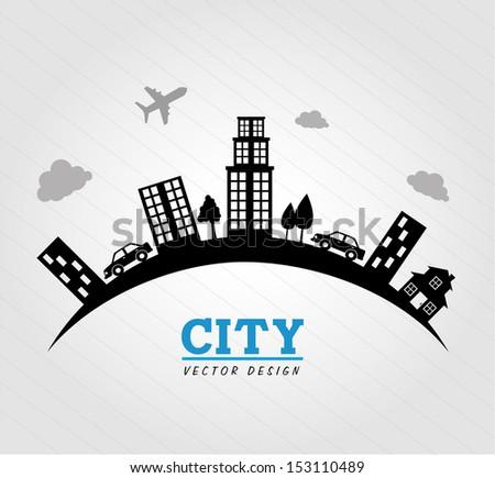 city design over gray background vector illustration  - stock vector