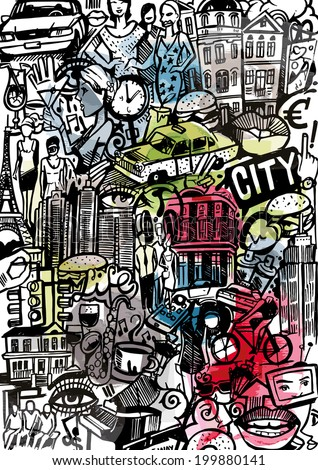 City Doodle - stock vector