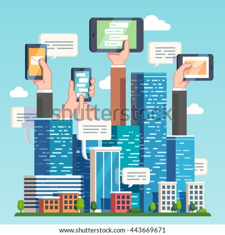 City downtown communications. Urban area social networking via modern smart devices, phones and tablets. Skyscrapers and hands holding technology. Flat style vector illustration.  - stock vector