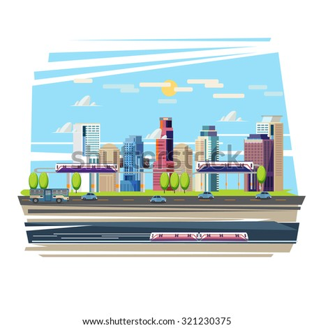 City downtown with Sky Train and Subway. car on ther road. Transportation Concept Set - vector illustration - stock vector