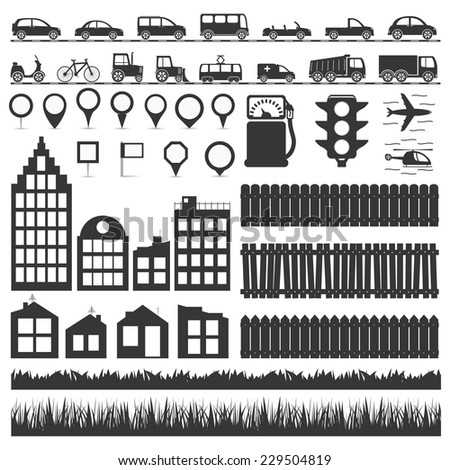 City elements collection - transport, map markers, houses and buildings, fences and grass, vector eps10 illustration - stock vector