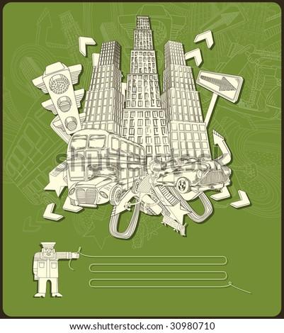 city elements - composition- vector-green - stock vector