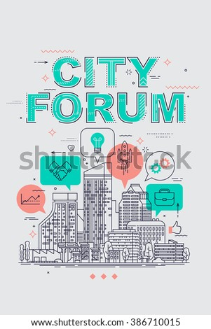 City Expansion And Development Discussion Conference Banner Or Poster Template City Forum Concept Flat Line