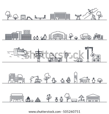 City flat outline icons, urban landscape. Vector.