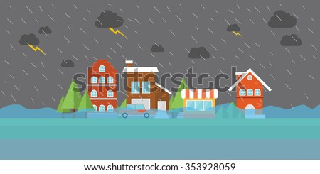 city flood flooding water in city street building store house home town - stock vector