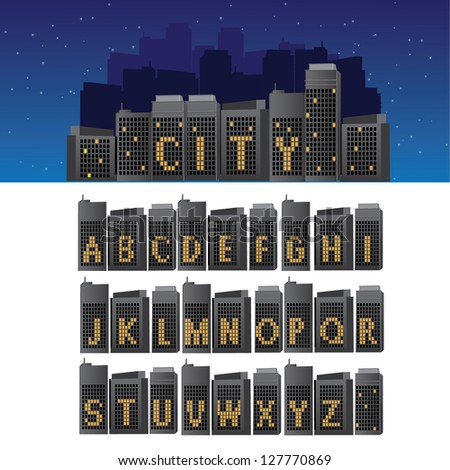 City Font A through Z EPS 8 vector, grouped for easy editing. No open shapes or paths. - stock vector