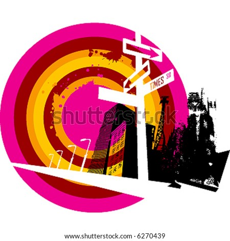 city grunge composition - stock vector