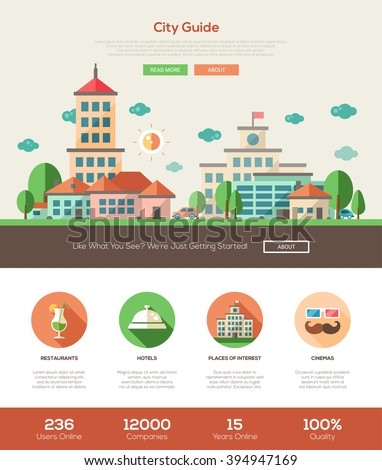 City guide web site one page website template layout with thin line design header, banner, icons and other flat design web elements - stock vector