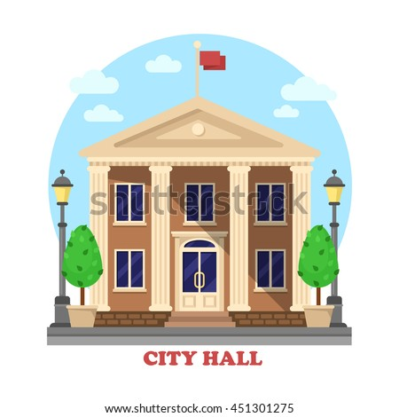 City hall architecture facade of building exterior with flag on top and bushes near entrance with steps, lanterns or lamps on sides of townhouse or mayor, parliament house - stock vector