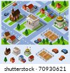 City Hall. Set of very detailed isometric vector - stock vector