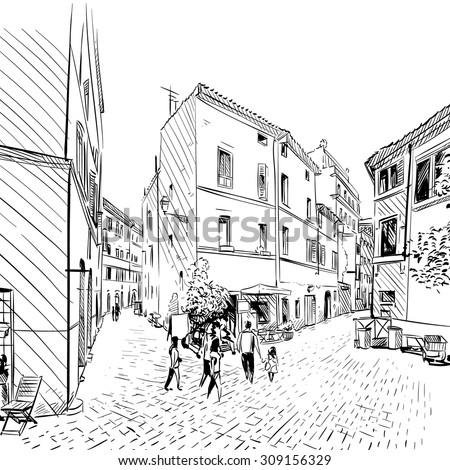City hand drawn. Street sketch, vector illustration