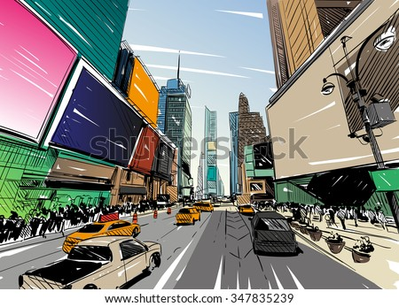 City hand drawn unique perspectives, vector illustration. New York city Times square