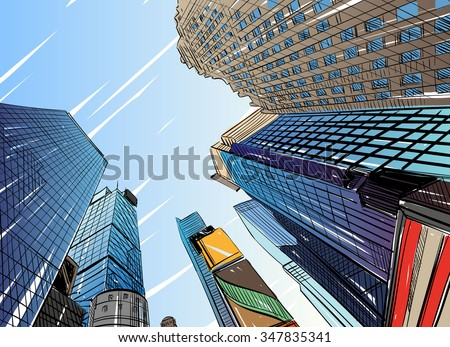 City hand drawn unique perspectives, vector illustration. New York city Times square - stock vector