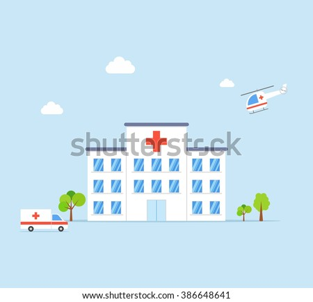 City Hospital building with ambulance and helicopter in flat design style on blue background. Clinic Vector Illustration - stock vector