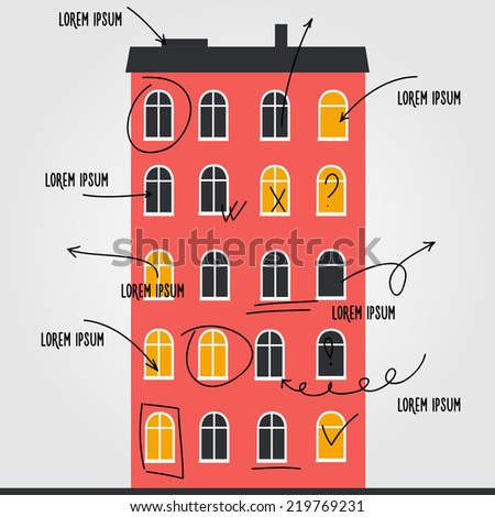 City house infographic template with hand drawn arrows - stock vector