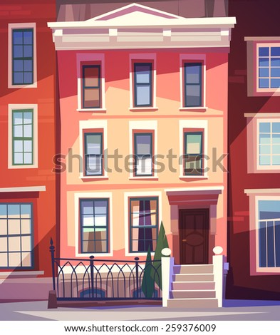 City houses facades. Vector illustration. - stock vector