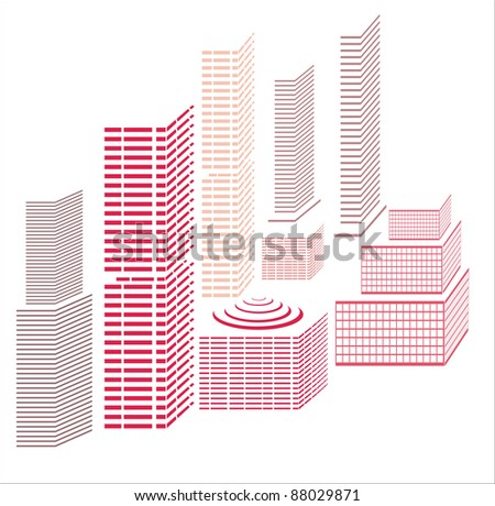 city icons illustration - stock vector