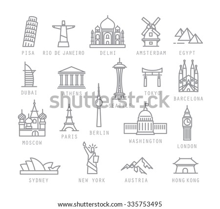 City icons in flat style with names Pisa, Rio, Delhi, Amsterdam, Dubai, Athens, Seattle, Tokyo, Barcelona, Berlin, Washington, Paris, London, Sydney, New York, Hong Kong - stock vector