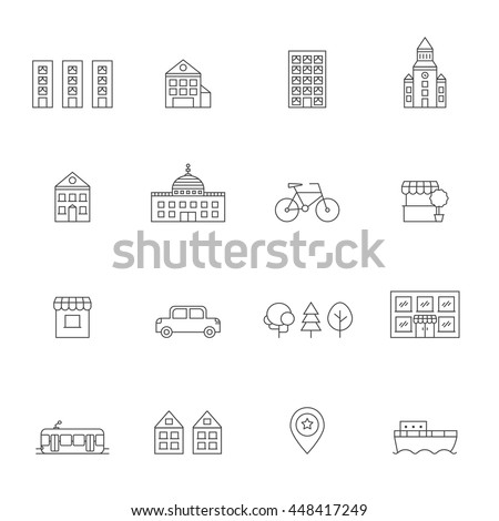 City icons set. Buildings, houses, trees, transport and pointer. Clean and simple outline design. - stock vector