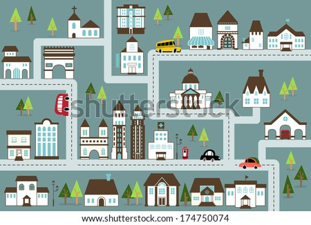 City Illustration In Blue Map With A Variety Of Buildings Grocery Shop
