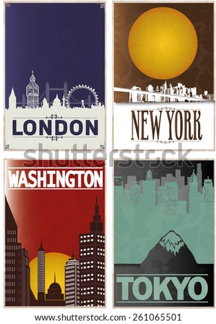 city illustrations - stock vector