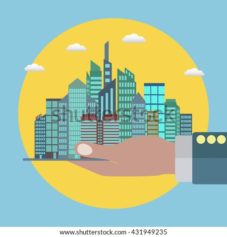 City in a palm of a hand of a businessman, real estate, successful business vector concept - stock vector