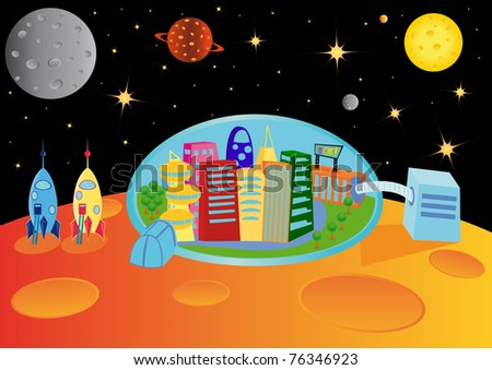 City in the universe, vector illustration - stock vector