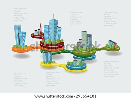 City infographic concept with building icons, Vector illustration. - stock vector