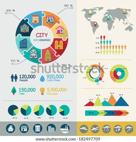 City infographic elements with icons and charts