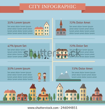 City infographic with street and houses. Flat style vector illustration. - stock vector