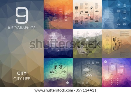 city infographic with unfocused background - stock vector