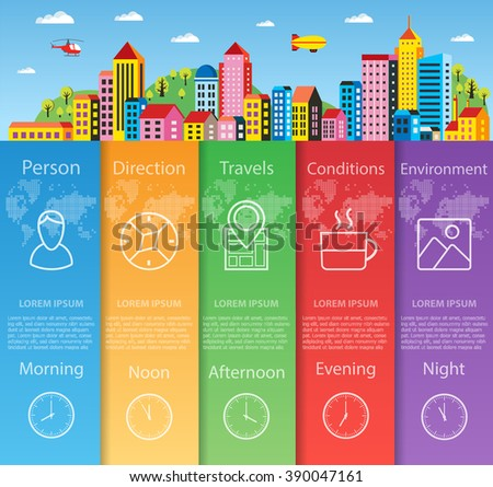 City infographics in flat style - stock vector