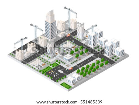 City isometric industry there are diagram, building, road, park, transportation and crane in the area of the town with the business conceptual graphs and symbols